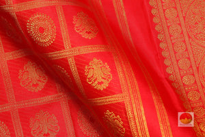 fabric detail of silk yarn in kumkuma red kanjivaram pure silk saree