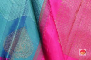 fabric detail of silk yarn in ananda blue kanjivaram silk saree