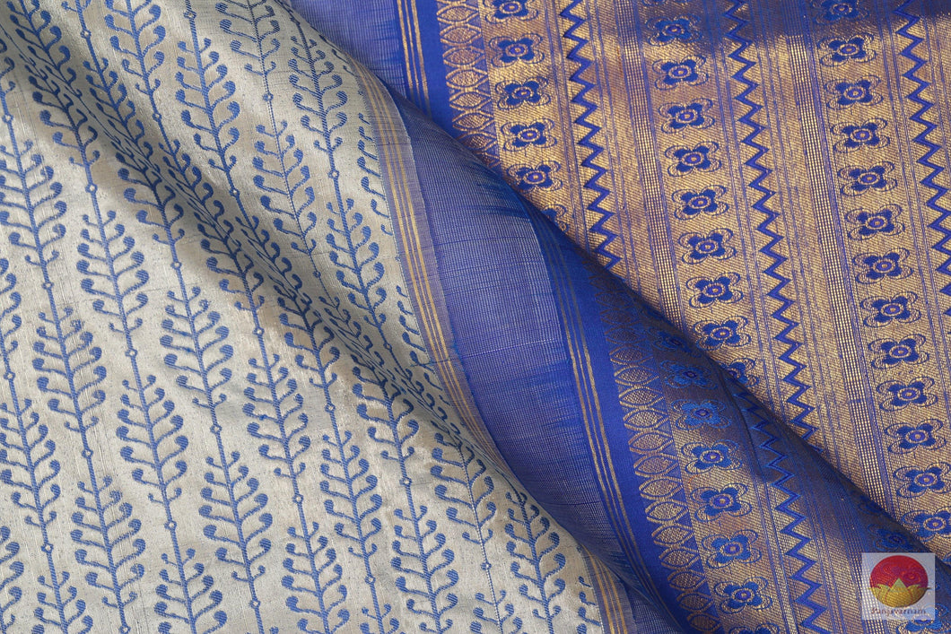 Traditional Handwoven Pure Silk Kanjivaram Saree - Tissue Zari - PV SVS 12297