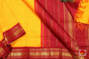 body, border and pallu detail of kanjivaram pure silk 9 yards saree