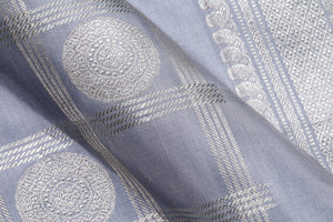 fabric detail of silk yarn in GREY kanjivaram silk saree