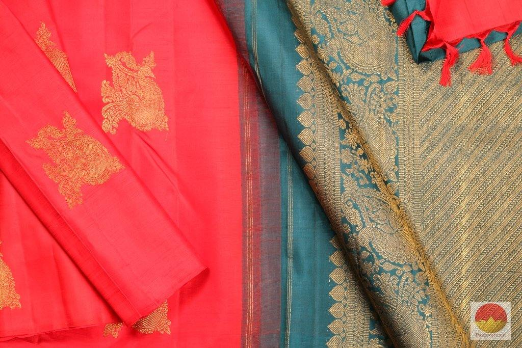 body and pallu of borderless red  kanjivaram pure silk saree