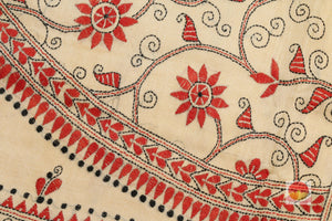 kantha work detail on motif of tussar silk saree