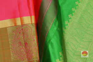 fabric detail of silk yarn in pink kanjivaram silk saree