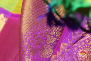 fabric texture and zari detail of kanjivaram pure silk saree