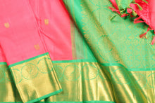 Load image into Gallery viewer, fabric detail of body and border and silk yarn in  kanjivaram silk saree