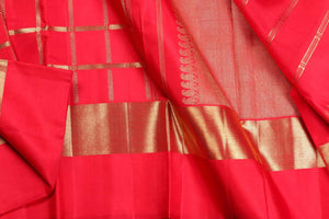 drape view of red kanjivaram silk saree