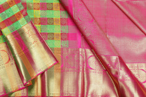 multi colour checks silk saree