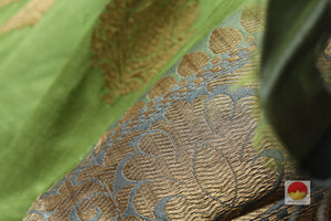 zari detail of  banarasi silk sari