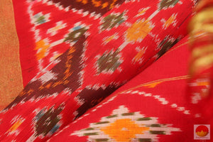 fabric texture of pochampally ikkat silk saree