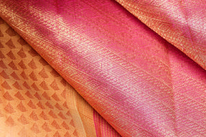 fabric view of pink and yellow silk yarn in kanjivaram silk saree