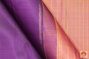 fabric detail of silk yarn in purple kanjivaram silk saree