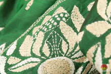 Load image into Gallery viewer, fabric texture of kantha work tussar silk saree