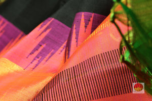 zari detail and fabric texture of black kanjivaram pure silk saree
