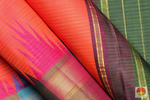 fabric detail of silk yarn in temple border kanjivaram silk saree