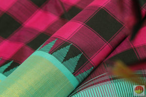 Kanchipuram Silk Saree - Handwoven Pure Silk - Cyan & Rose - Pure Zari - PV G 4058 Archives