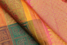 fabric detail of silk yarn in odiya style kanjivaram silk saree