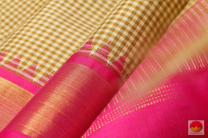 Temple Border - Handwoven Pure Silk Kanchipuram Saree - Pure Zari - PV 6437