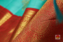 zari detail of teal kanjivaram pure silk saree