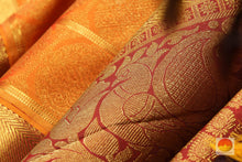 Load image into Gallery viewer, zari detail of  traditional design kanjivaram pure silk sari