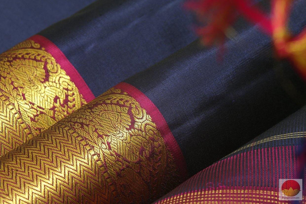 Kanchipuram Silk Saree - Handwoven Pure Silk - Pure Zari - Navy Blue & Magenta - PV SS 210 Archives