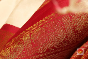 fabric texture and zari detail of  kanjivaram silk saree