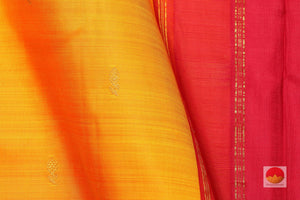 fabric detail of silk yarn in mango yellow kanjivaram silk saree