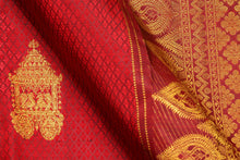 Load image into Gallery viewer, fabric detail of silk yarn in wine red  kanjivaram silk saree