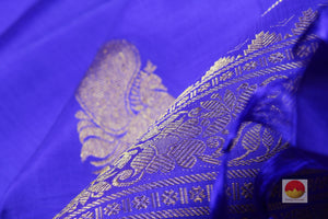 zari motif of blue borderless kanjivaram pure silk saree