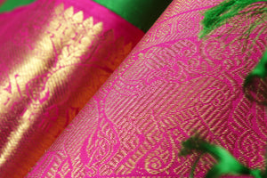 fabric texture and zari detail of handwoven kanjivaram silk saree