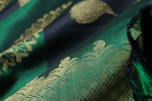 fabric detail of gold zari and silk yarn in blue kanjivaram silk saree