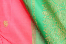 Peach Pink body and green border pure silk kanjivaram saree