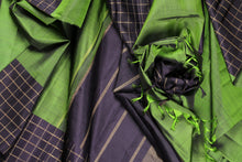 traditional green and black pure silk kanjivaram saree