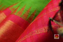 zari detail of green temple border kanjivaram pure silk saree