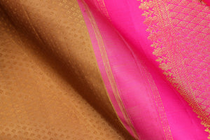 fabric detail of silk yarn in mustard kanjivaram silk saree