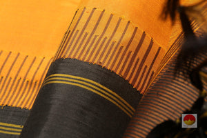 fabric texture of rust kanjivaram silk saree
