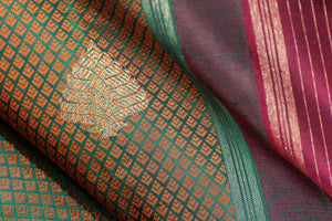 silk jacquard work on body of traditional kanjivaram pure silk saree