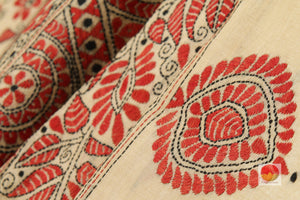 fabric detail of silk yarn and kantha work in tussar silk saree