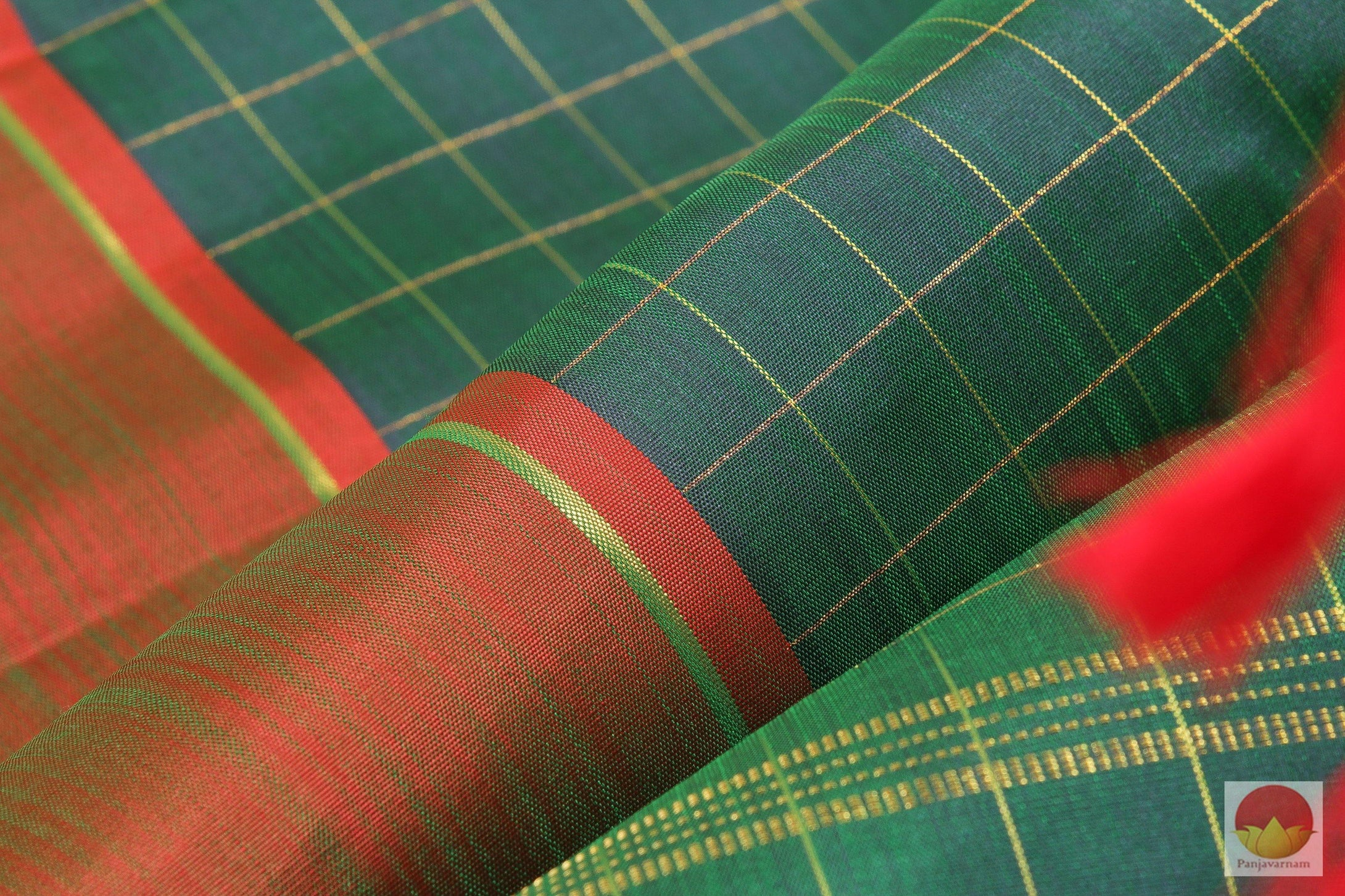 Kanchipuram Silk Saree - Green & Brown - Pure Silk - Handwoven Silk Saree - PV G 2006 Archives