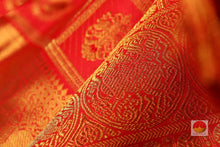 Load image into Gallery viewer, zari detail and fabric texture of kumkuma red kanjivaram pure silk saree