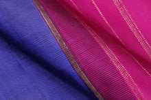 Load image into Gallery viewer, fabric texture of ms blue and pink kanjivaram saree
