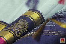 Kanchipuram Silk Saree - Grey & Blue - Pure Zari - Pure Silk - Handwoven Saree -  PV G 1983