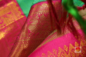 Temple Border - Silk Thread Work - Handwoven Pure Silk Kanjivaram Saree - Pure Zari - PV J7061