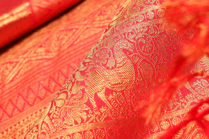 ZARI DETAIL OF BRIDAL KANJIVARAM SILK SAREE