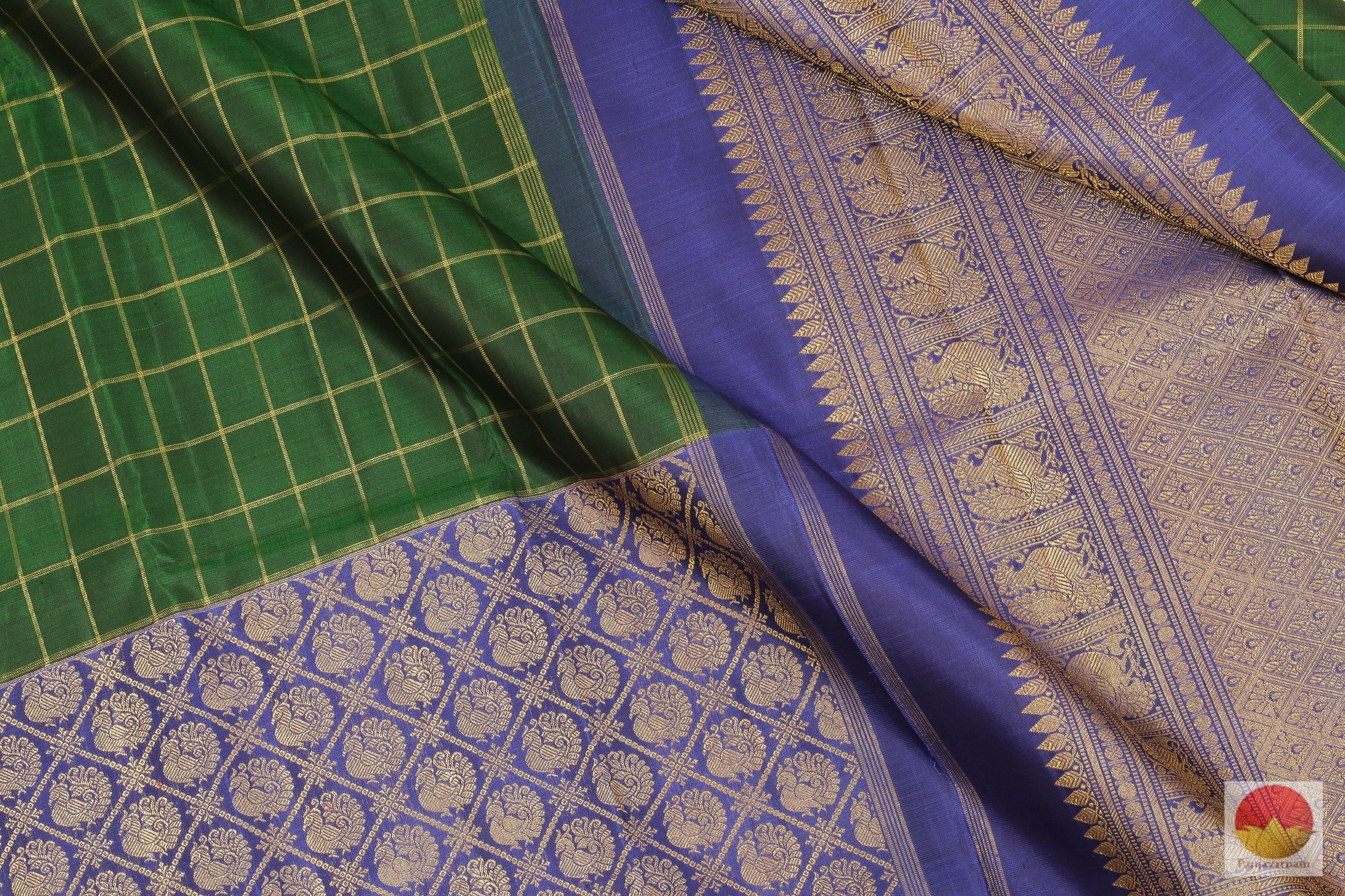 Bottle Green & Blue - Handwoven Pure Silk Kanjivaram Saree - Pure Zari - PV G 1974 Archives