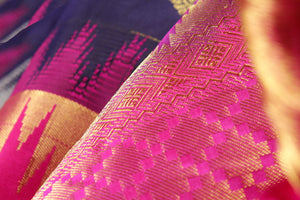fabric detail of navy blue silk yarn in  kanjivaram silk saree