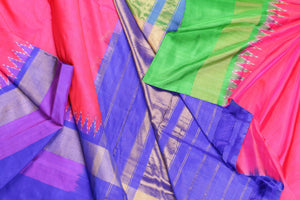 Drape view of pochampally silk saree