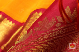 zari detail and fabric texture of mango yellow kanjivaram pure silk saree