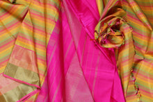 drape of traditional kanjivaram pure silk saree