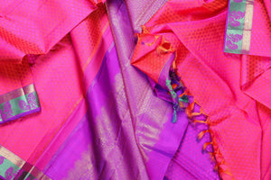 drape of pink and purple kanjivaram silk saree